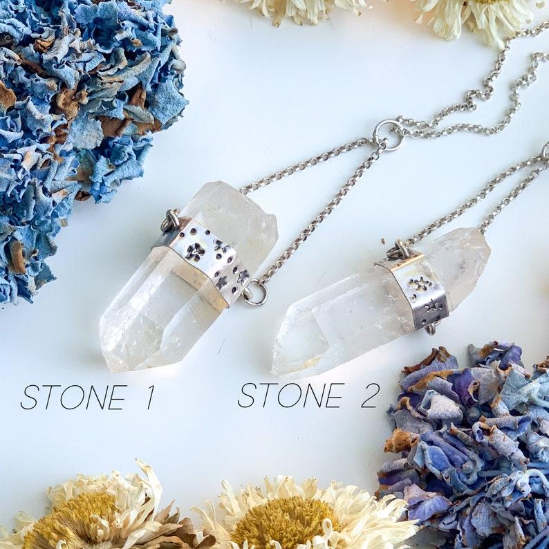 crystals RARE ARKANSAS QUARTZ Handcrafted Sterling Silver Necklaces hand stamped self-mined quartz natural quartz one of a kind