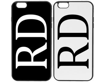 Custom Initials Personalised Black or White Phone Case Cover For Samsung  iPhone Huawei 7d50ea6da