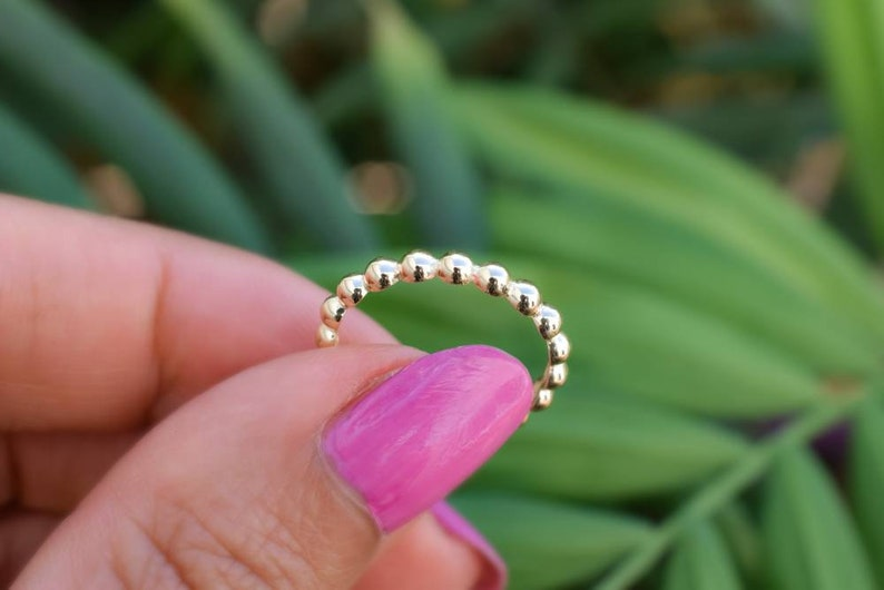 14k Ring Gold Engagement Ring 14k Solid Gold Ball Ring Wedding Band Bridal Band Ring Full Eternity Gold Band Gold Stacking Ring