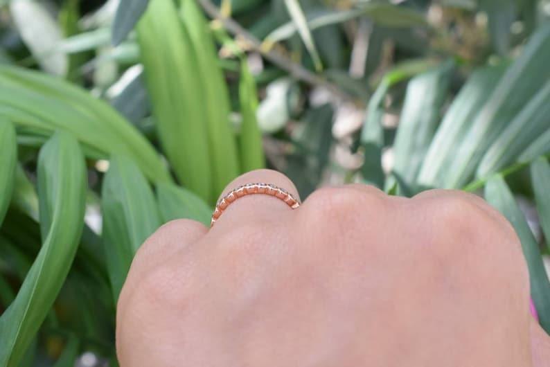 Wedding Band Full Eternity Band Bezel Rose Gold Ring Bezel Ring Bridal Band Promise Ring Rose Gold Stackable Ring Stacking Ring
