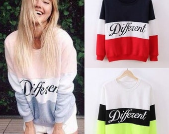 cfee3b67ad4d1 Women s Letter Different Pattern Sweatshirts Simple Joint Pullover Sweaters  Autumn Winter Casual Sweatshirt