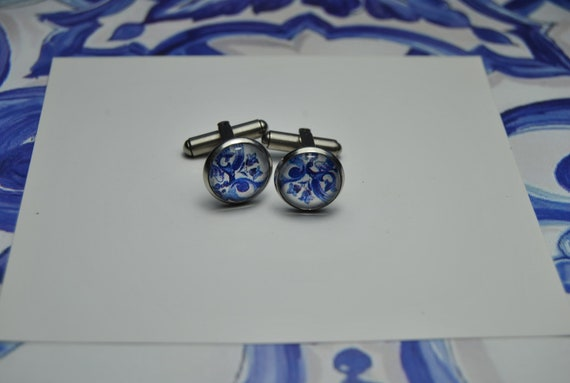 cufflinks Portuguese Tile Portugal blue  man, Top Sellers, Nickel and lead free, Anti-allergic