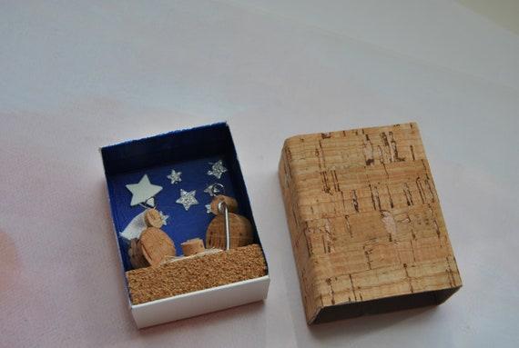 Cork nativity scene, matches box, gift, collection Handmade Christmas Nativity CORK sacred family Jesus Mary Baby decor genuine Portugal
