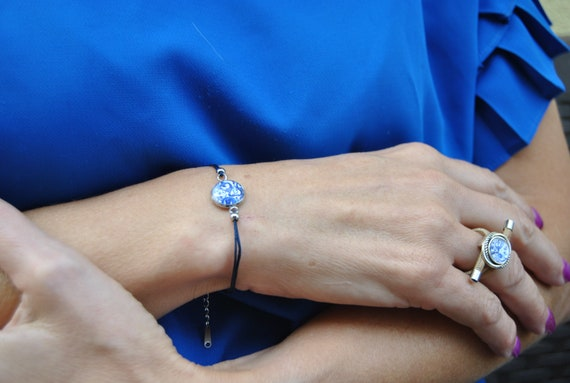 Bracelet portuguese Tile Portugal blue stainless steel cotton, Nickel and lead free, Anti-allergic