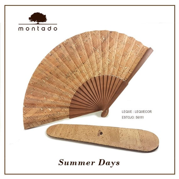 Cork Hand fan, with case, Vegan, Sustainable Fashion, Gift for Her, Cork fabric Made in Portugal