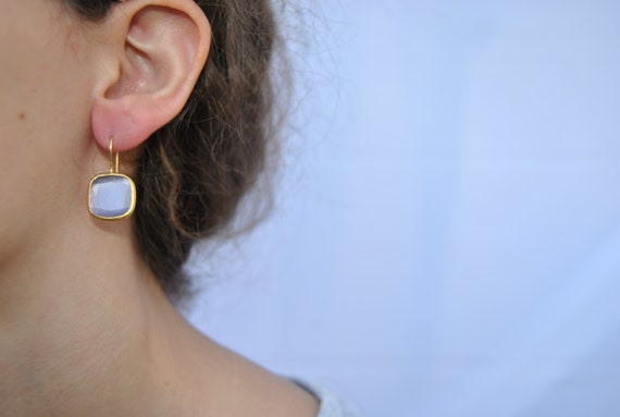 Gold plated brass earrings with quartz stone Gemstone Vermeil, , Bridal Wedding Jewelry, Bridesmaid Gift natural stone, Portugal