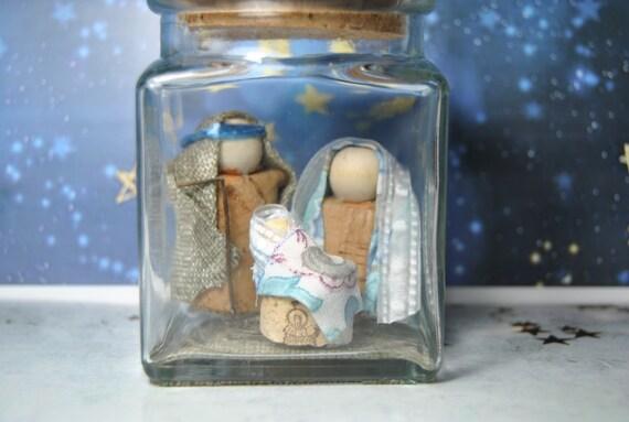 nativity scene, gift, glass jar, collection Handmade Christmas Nativity CORK sacred family Jesus Mary Baby decor genuine Portugal