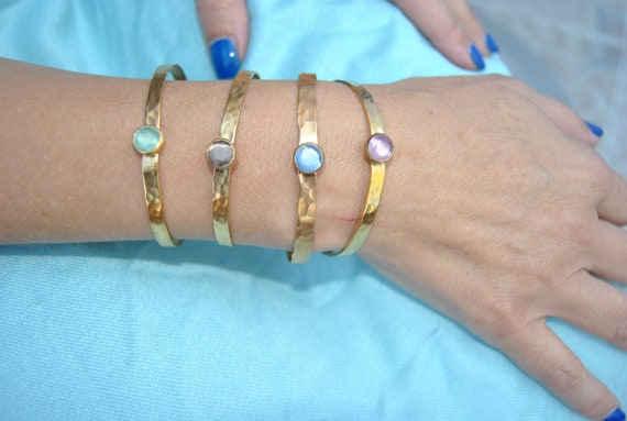 Gold plated brass Bracelet with quartz stone Gemstone Vermeil Gift for Her natural stone, Portugal