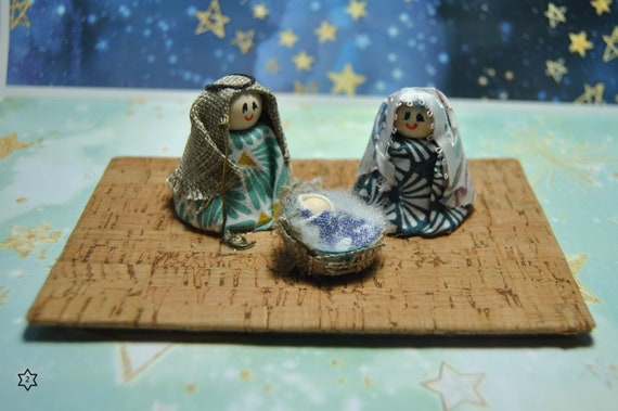 nativity scene, matches box, gift, collection Handmade Christmas Nativity CORK sacred family Jesus Mary Baby decor genuine Portugal