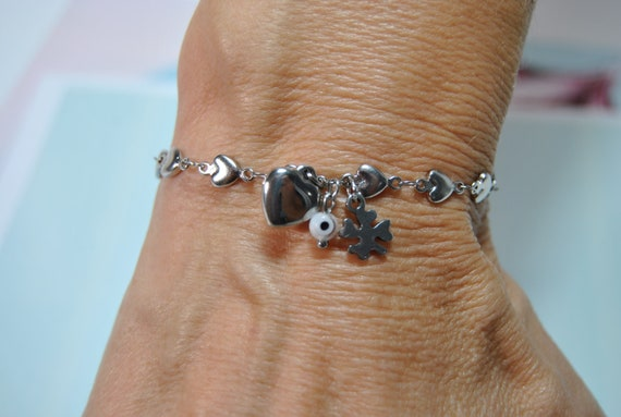 Evil Eye bracelet, Jewelry, Simple Evil Eye , Protection, Gift for Her, stainless steel, Portugal, Nickel and lead free, Anti-allergic