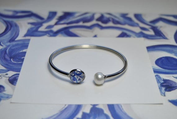 Bracelet  Portuguese Tile Portugal blue  water pearl, Top Sellers, Nickel and lead free, Anti-allergic