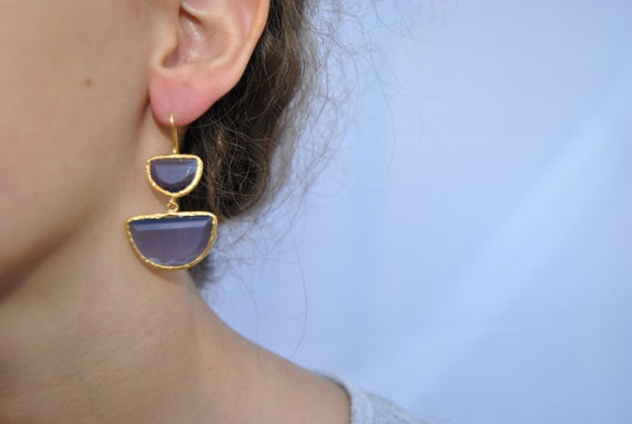 Gold plated brass earrings with quartz stone, Bridal Wedding Jewelry, Bridesmaid Gift natural stone, portugal