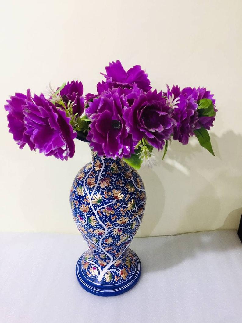 Hand Painted Brass Vase,36 cm,antique flower vase from 1970/'s,Kashmir paper mache,Paper Mache Flower Vase,Brass flower vase from India