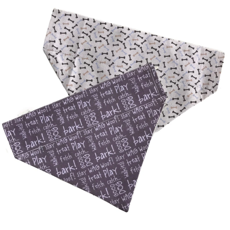 reversible purple writing and bones 100/% cotton pet bandana Bark 2 Me