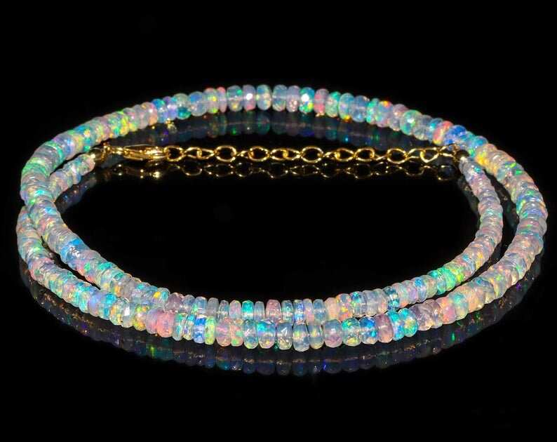Ethiopian Opal Birthstone Beaded Necklace Birthday October Ethiopian Opal for Women Girlfriend Anniversary Mother Gift for Her