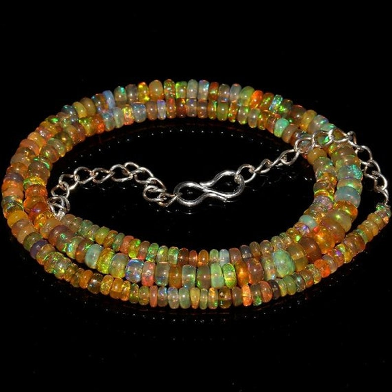 Opal Jewelry Opal Beads Necklace 39 Ct 3 to 5 mm 16 Natural Ethiopian Welo Fire Rondelle Opal Fire Smooth Beads Necklace Opal Beads