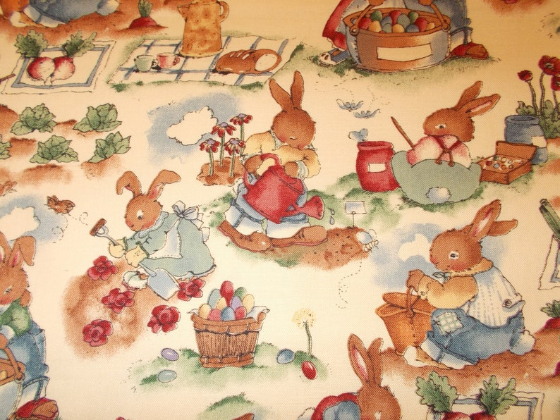 approx. 7.5 X 20 Gardening Easter Bunnies Spring kitchen microwave decor toilet tank cover handmade MINI table runner toilet tank topper
