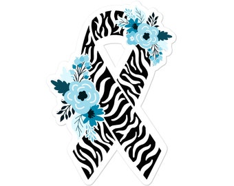 Rare Disease Sticker, Zebra Awareness Stickers, Floral Zebra Awareness Ribbon, Hypermobility Spectrum Disorder, Chronic Illness Decal
