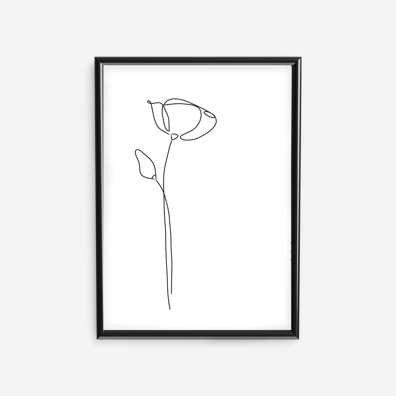 Poppy Poster, Minimalist Mono Line Print, Hand Drawn Beauty / Fashion Wall  Art, Instant Download, Single Line, Feminine Wall Decor by Senti.