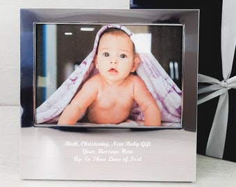 Personalised  Engraved Own Handwriting Silver Photo Frame, Christening, Baptism, New Baby Gift, New Father, Mother's Day Gifts