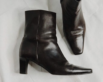 90s Italian Leather Ankle Boots