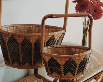 Vintage Chinese Bamboo Basket // Vintage Woven Purse (Small)