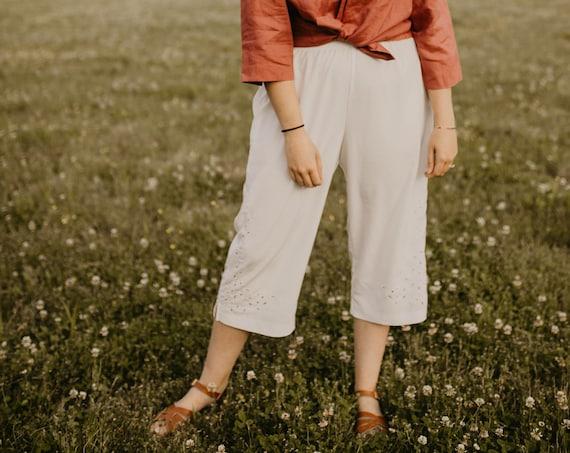 90s Wide-leg White Pants - M