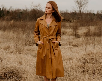 70s Ledaspain by Gropper Leather Trench Coat