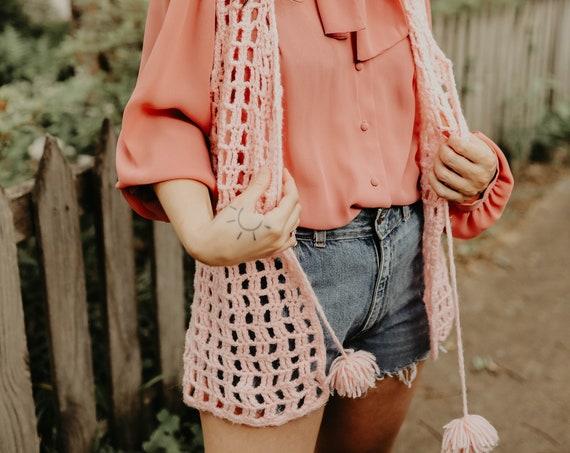 70s Pink Crochet Vest