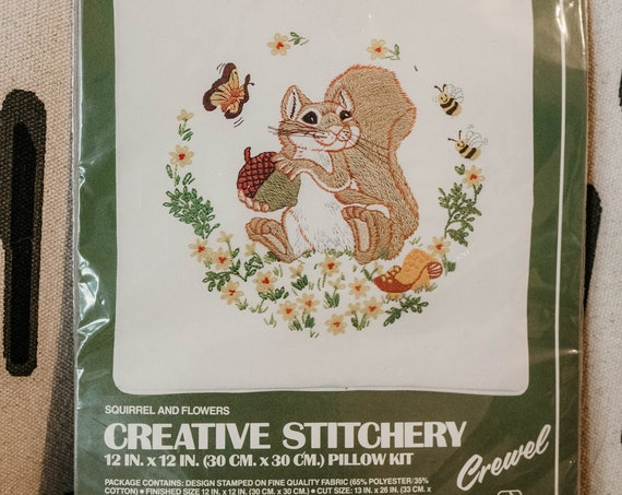 70s Embroidery Squirrel and Flowers Pillow Kit