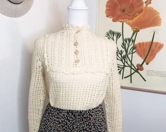 60s Hand Crochet Bell-sleeve Sweater
