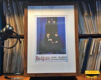 The Beatles custom framed concert poster art, Vintage rock music posters, 1960s illustrated gig event poster in frame with mount