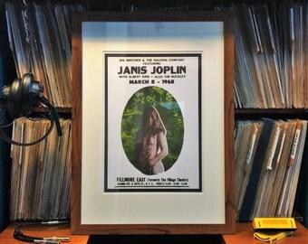 Janis Joplin custom framed concert poster art, Vintage rock band music posters, Psychedelic illustrated gig event poster in frame with mount
