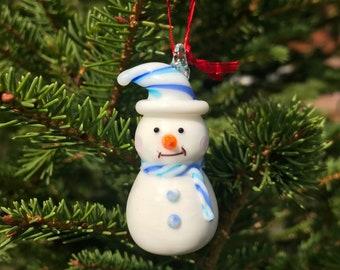 Blown Glass Snowman Etsy