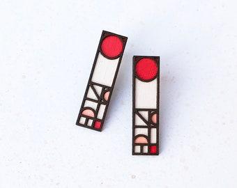 Ren Earrings in Red, Pink & White