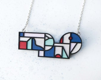 Senga Necklace in Mint, Red, Blue, Purple & White