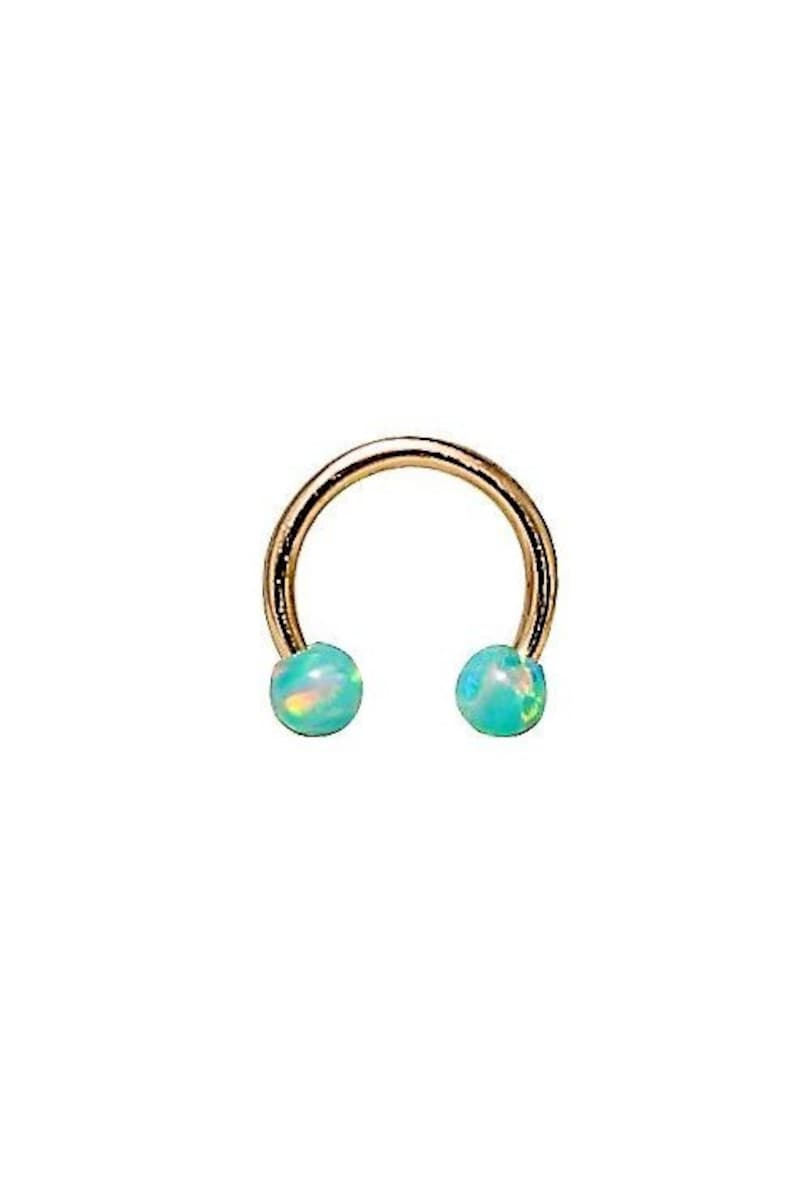 Gorgeous 14k Solid Gold Daith Cartilage Jewelry With 3mm Turquoise Opal Balls Circular Barbell 16g Helix Ring 6mm to 12mm