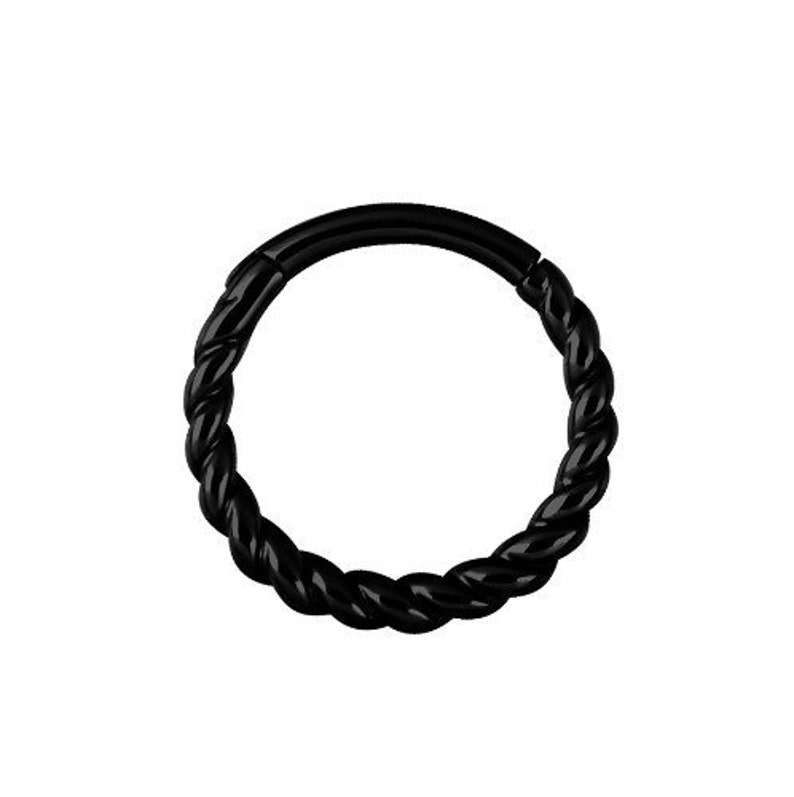 14mm Beautiful Black Nipple Clicker Ring..Black PVD Over 316L Surgical Steel Comes in 14g