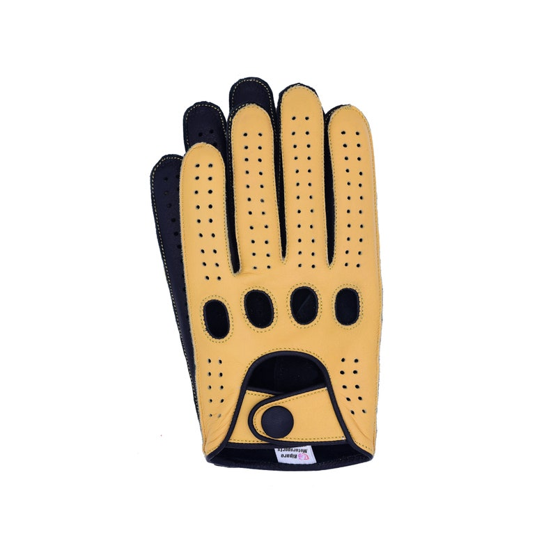 Men/'s Reverse Stitched Leather Driving Gloves CamelBlack Palm