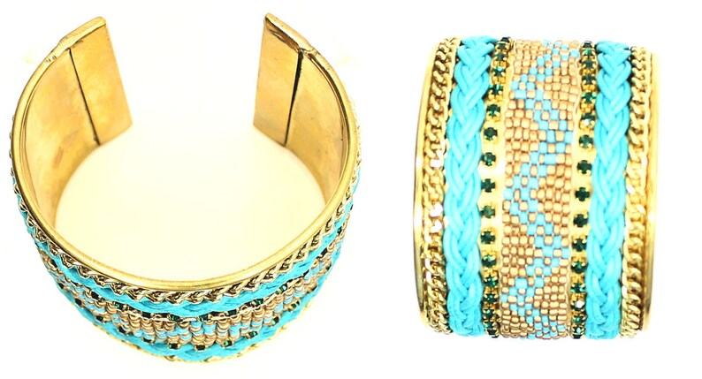 Colorful Cuff Style Green Gemstone and Gold Tone Bracelet