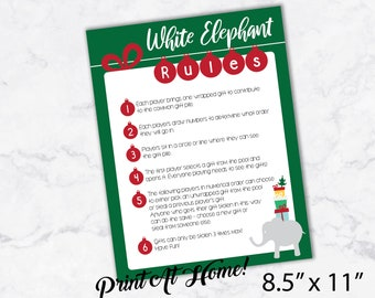 image about White Elephant Rules Printable named Substitute bash Etsy