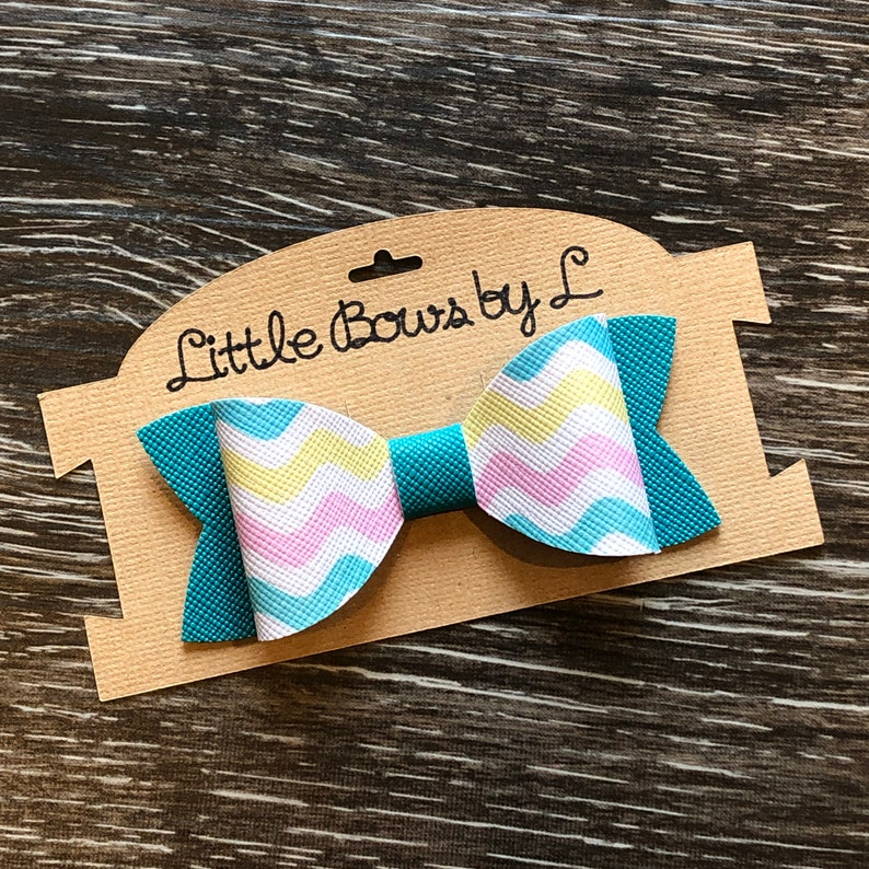 Teal and Spring Colored Wavy Stripped Hair Bow Easter 3 inch length Alligator Clip Nylon Headband