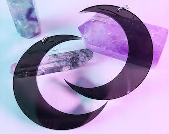 Black Smoke Crescent Moon Earrings / Dark Moon / Dangle / Laser Cut Jewelry