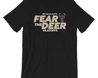 """04fad2a98 Milwaukee Bucks """"Fear The Deer"""" Playoffs 2019 T-Shirt"""