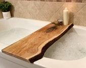 Live Edge Solid Wood Bathtub Tray   Sustainable Wood   Bath Caddy  Bathroom Shelve   Home Decor