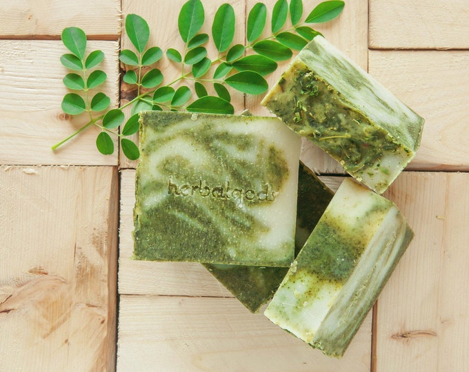 Featured listing image: 3 for 20 - Moringa Mint Soap | Happy Face | Artisanal Soap | Great Facial Soap | Best Seller