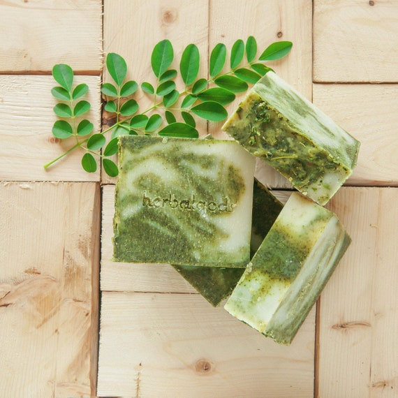 Moringa Mint Soap (3 for 20) | Happy Face | Artisanal Soap | Great Facial Soap | Best Seller