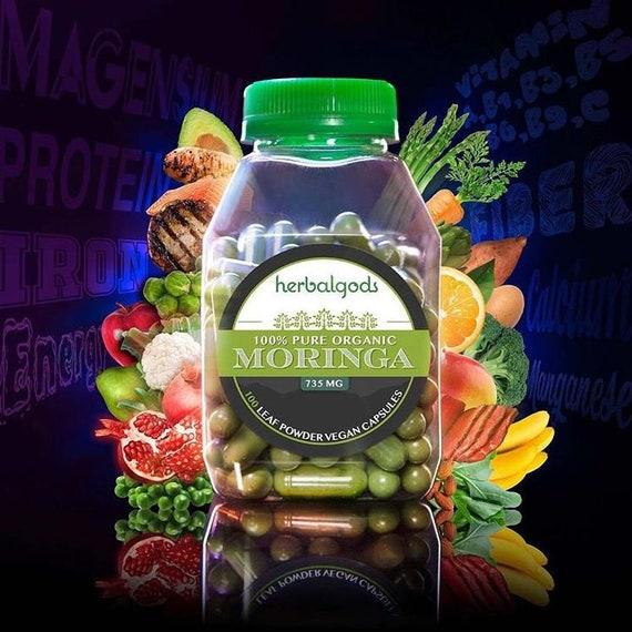 100 Pure Organic Moringa Vegan Capsules (735MG) / Free Shipping / Best Seller / Superfood / Homegrown