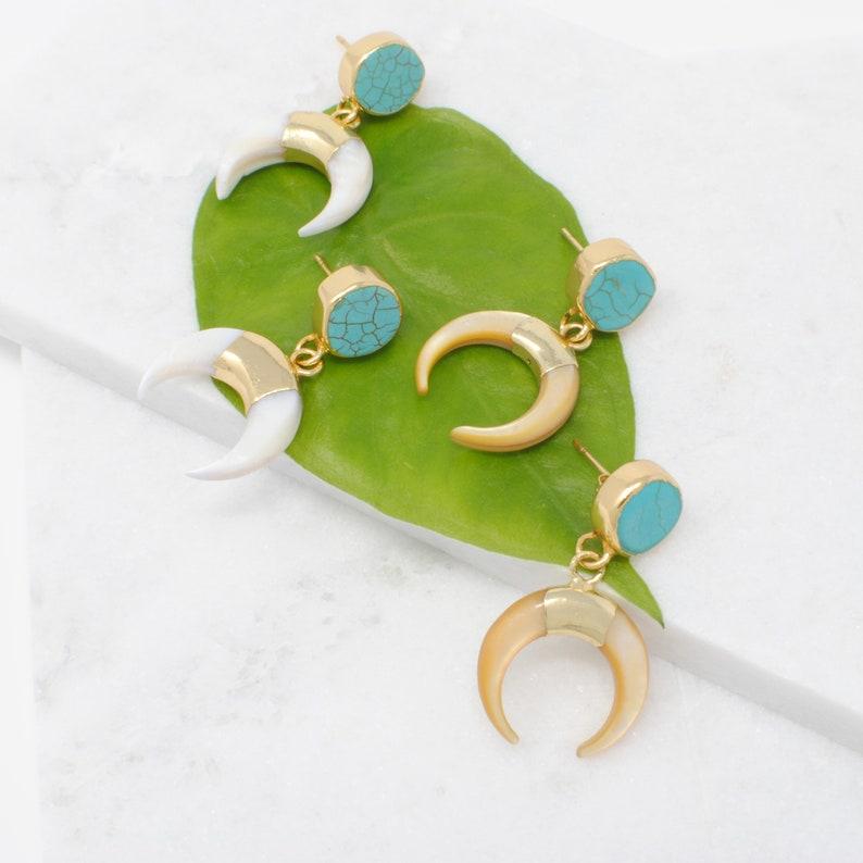 Horn Earrings Statement Earrings Moon Earrings Open Phase Earrings Gold Plated Dangle Earrings Mother/'s Day Crescent Moon Earring