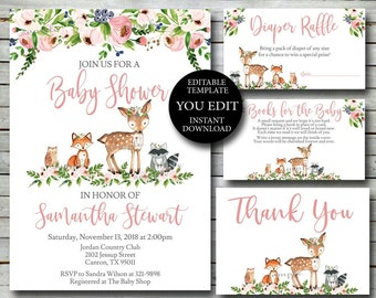 Woodland Baby Shower Invitation set 7766d45719